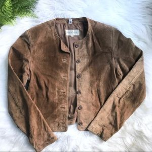 Vintage Suede Leather Jacket Tan Small/Medium
